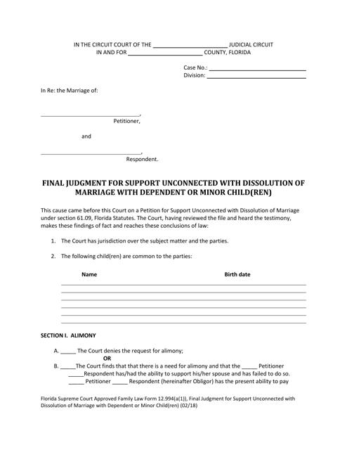 Form 12.994(A)(1)  Printable Pdf
