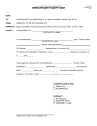 "Form 700-010-31 ""Memorandum of Overpayment"" - Florida"