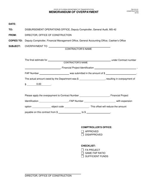 Form 700-010-31  Printable Pdf