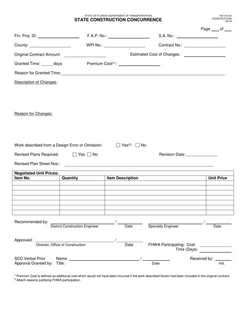 Form 700-010-43  Printable Pdf