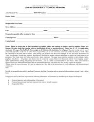 "Form 700-010-21 ""Low Bid Design-Build Technical Proposal"" - Florida"