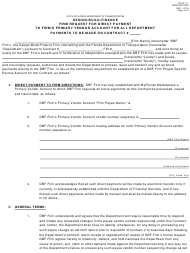 """Form 700-011-17 """"Design-Build-Finance Firm Request for Direct Payment to Firm's Primary Vendor Account for All Department Payments to Be Made on Contract"""" - Florida"""