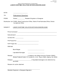 Form 700-010-54 Labor Overtime Violation Withholding/Release - Florida