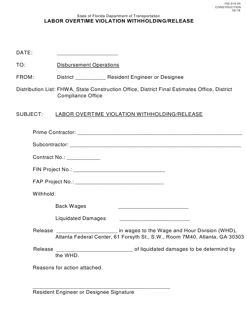 Form 700-010-54  Printable Pdf