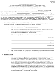 """Form 700-011-16 """"Design-Build-Finance Firm Request for Project Specific Escrow Account and Unique Vendor Number Sequence for All Department Payments to Be Made on Contract"""" - Florida"""