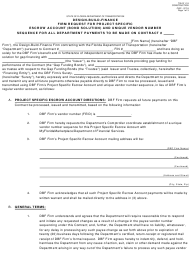"""Form 700-011-18 """"Design-Build-Finance Firm Request for Project Specific Escrow Account (Bond Solution) and Unique Vendor Number Sequence for All Department Payments to Be Made on Contract"""" - Florida"""