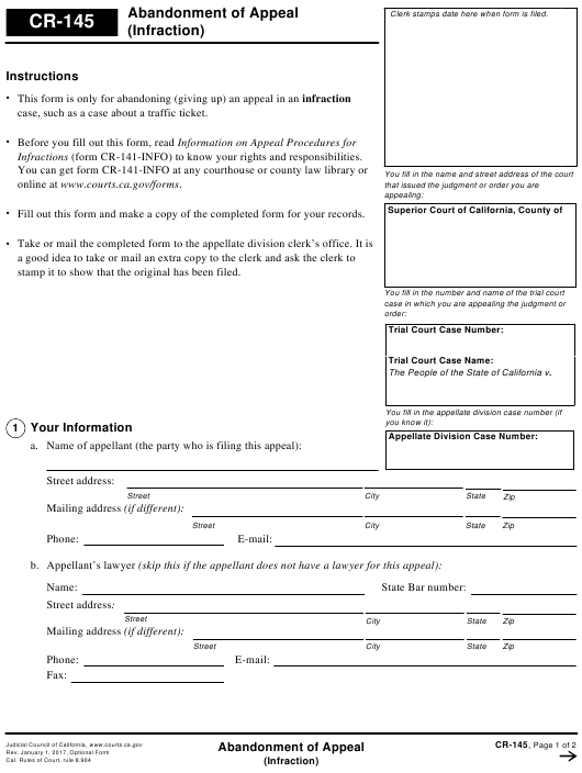 Form CR-145  Printable Pdf