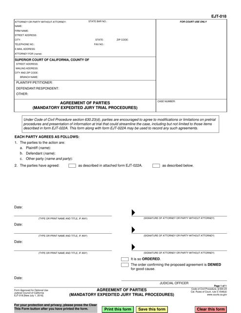 Form EJT-018  Printable Pdf