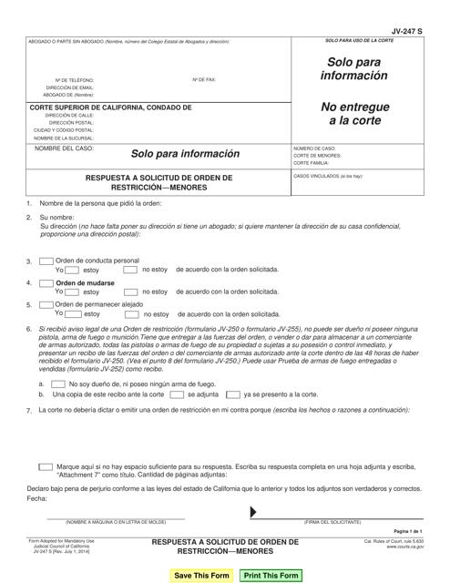 Formulario JV-247 S  Printable Pdf
