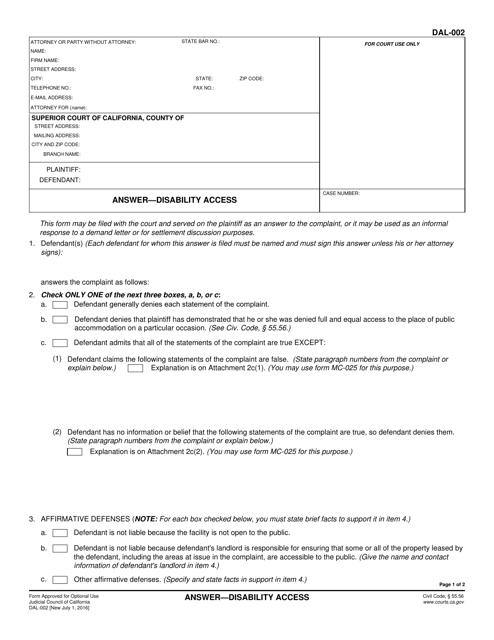 Form DAL-002  Printable Pdf