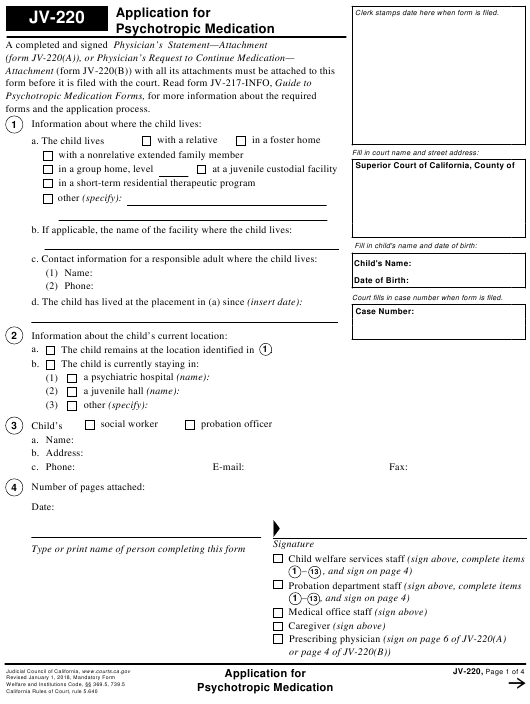 Form JV-220  Printable Pdf