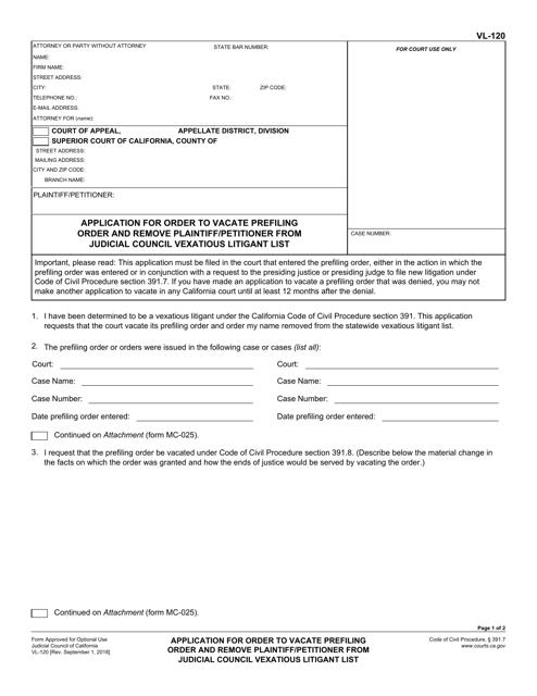 Form VL-120  Printable Pdf