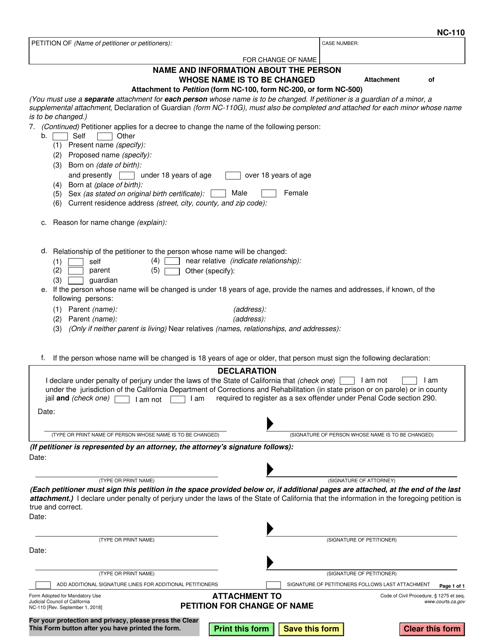 Form NC-110 Fillable Pdf