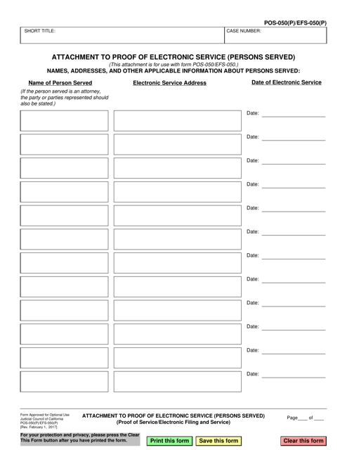 Form POS-050(P) (EFS-050(P))  Printable Pdf