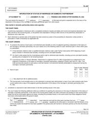 "Form FL-347 ""Bifurcation of Status of Marriage or Domestic Partnership - Attachment"" - California"