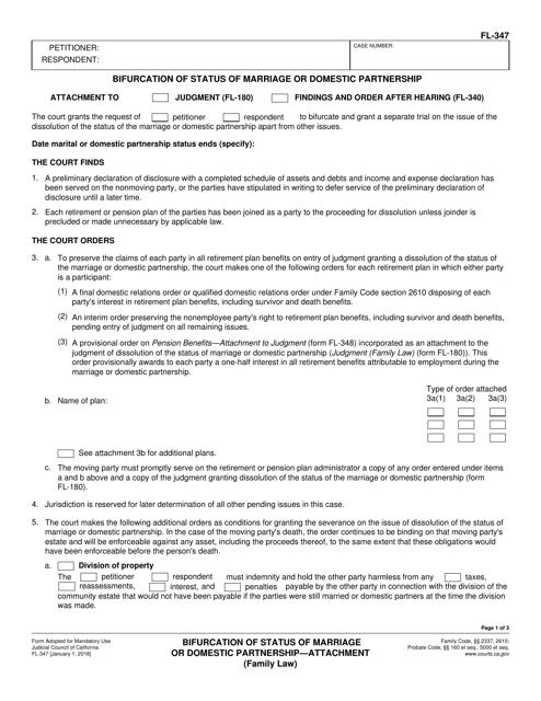 Form FL-347  Printable Pdf