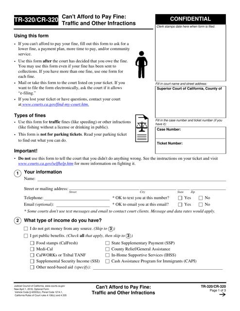 Form TR-320 (CR-320)  Printable Pdf