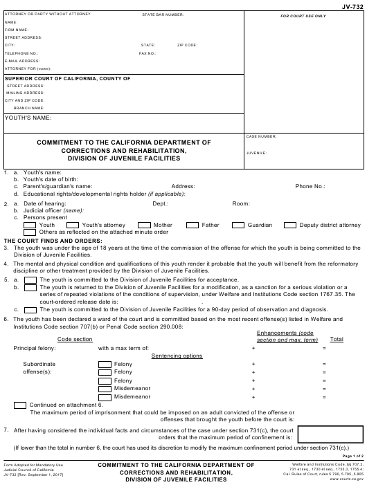 Form JV-732  Printable Pdf
