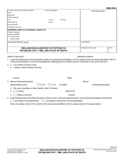 Form BMD-003A  Printable Pdf