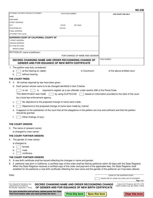 Form NC-230 Fillable Pdf