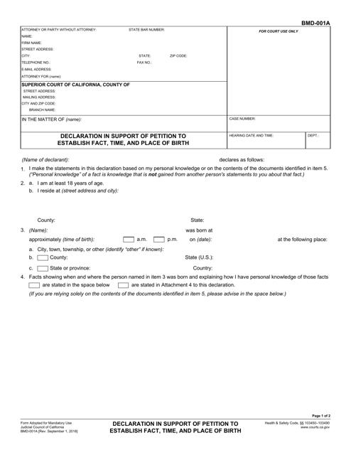 Form BMD-001A  Printable Pdf