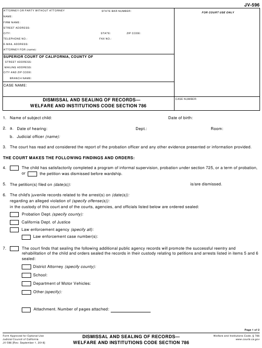 Form JV-596  Printable Pdf