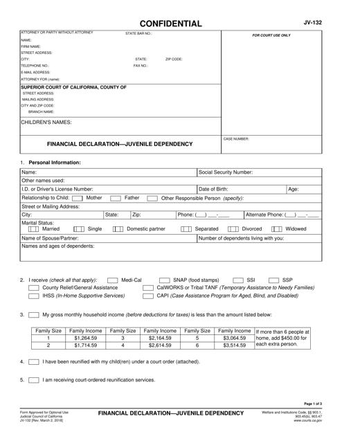 Form JV-132 Printable Pdf