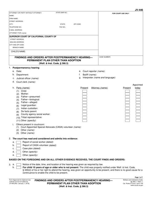 Form JV-446  Printable Pdf