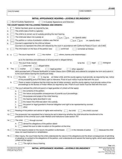 Form JV-642  Printable Pdf