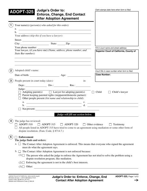 Form ADOPT-325  Printable Pdf