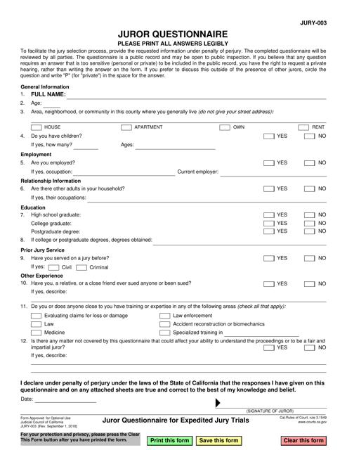 Form JURY-003 Printable Pdf