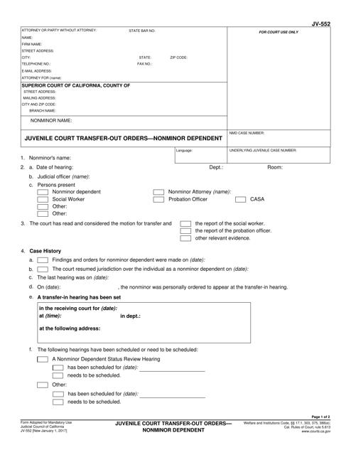 Form JV-552  Printable Pdf