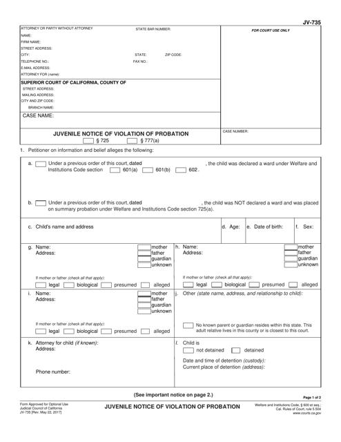 Form JV-735  Printable Pdf