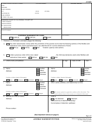 Form JV-600 Juvenile Wardship Petition - California