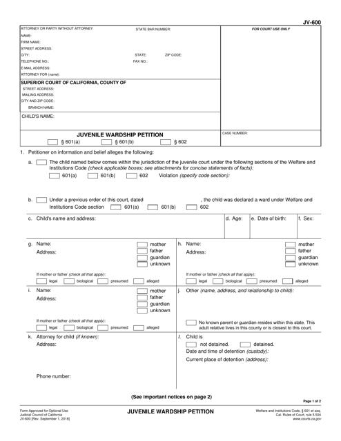 Form JV-600 Printable Pdf