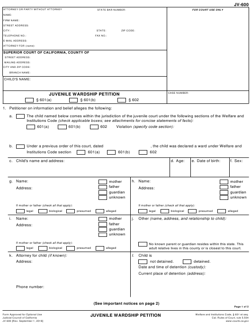 Form JV-600 Fillable Pdf