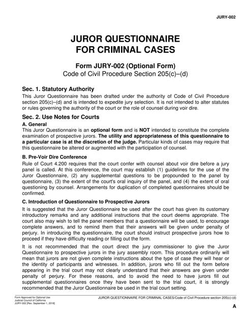 Form JURY-002 Printable Pdf