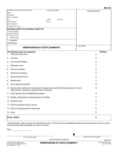 Form MC-010  Printable Pdf