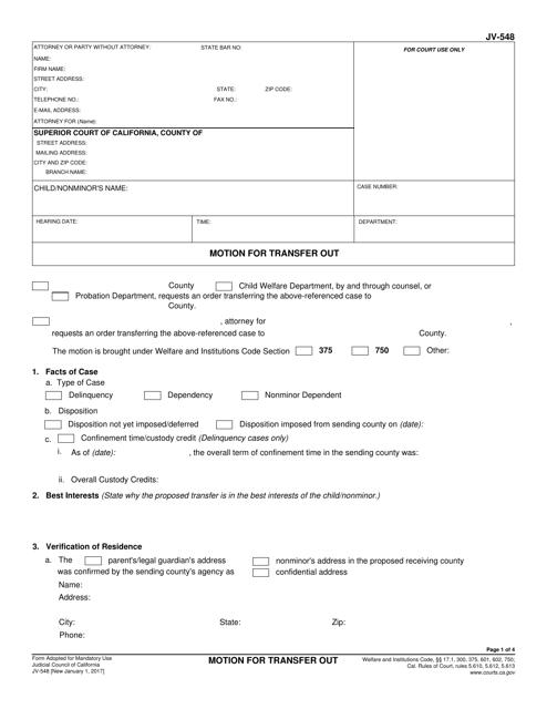 Form JV-548  Printable Pdf