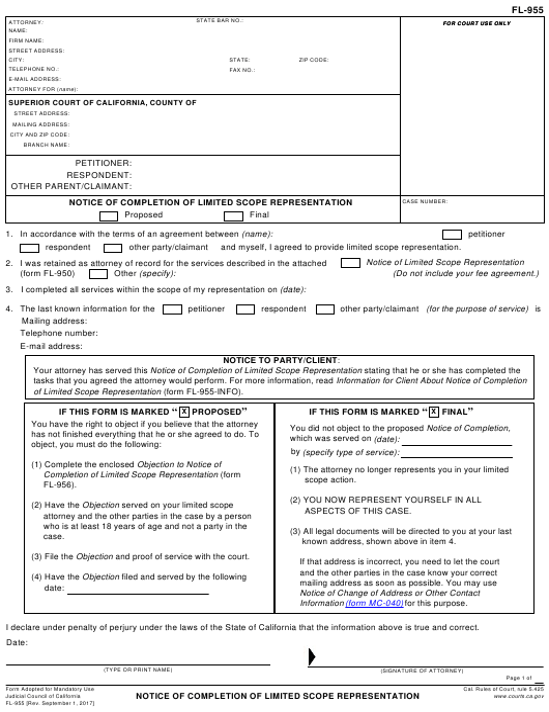 Form FL-955  Printable Pdf