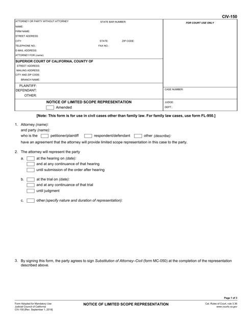 Form CIV-150  Printable Pdf