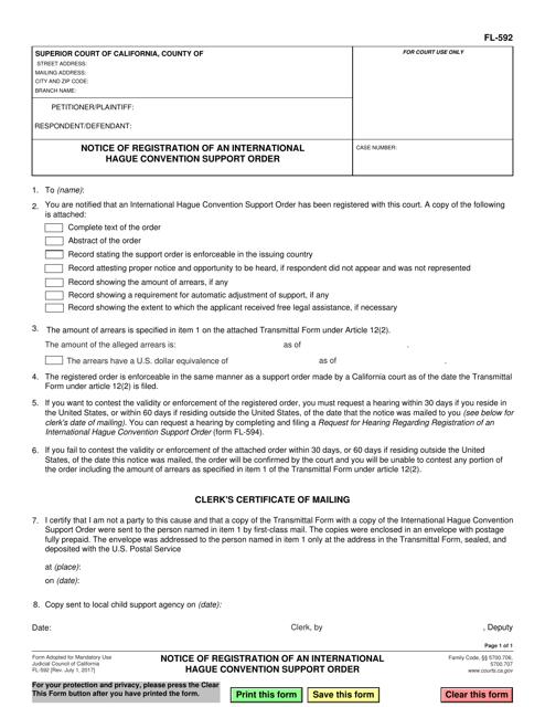 Form FL-592  Printable Pdf