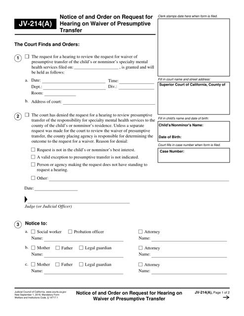 Form JV-214(A)  Printable Pdf