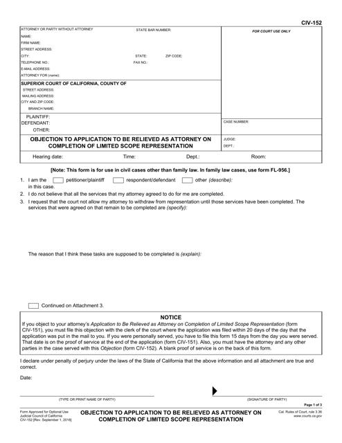 Form CIV-152  Printable Pdf