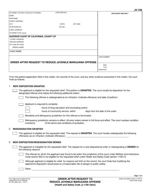 Form JV-746  Printable Pdf