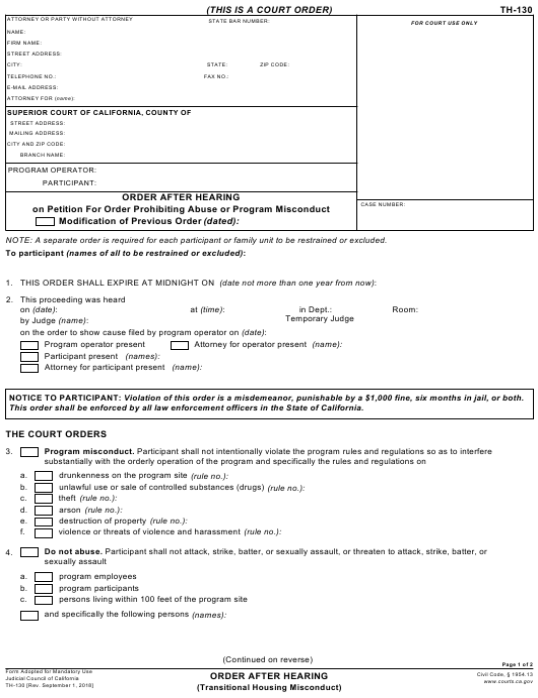 Form TH-130  Printable Pdf