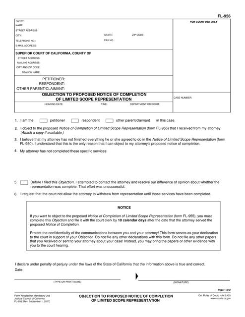 Form FL-956  Printable Pdf