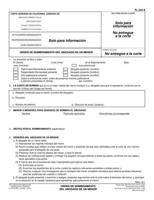 Formulario FL-323 S  Printable Pdf