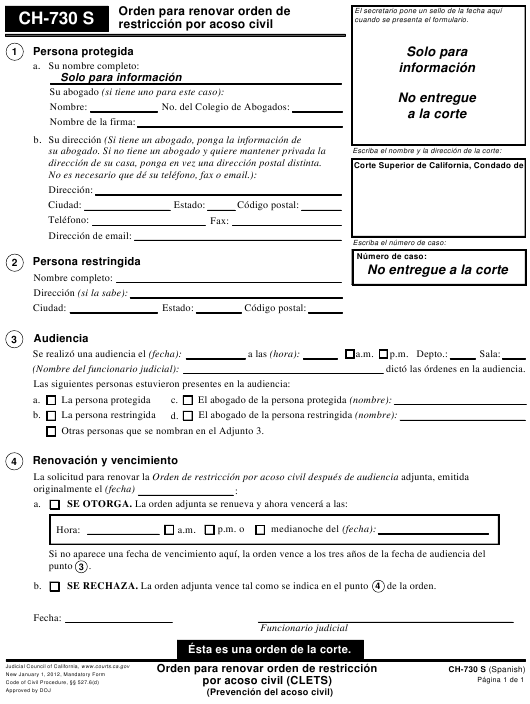Form CH-730 S  Fillable Pdf