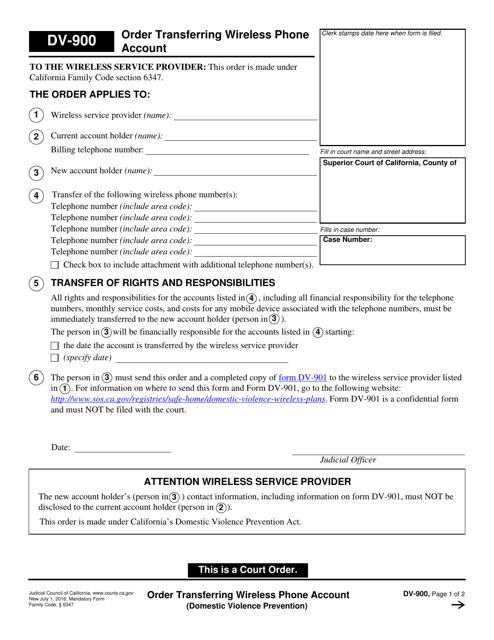 Form DV-900  Printable Pdf